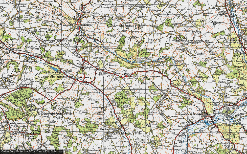 Old Map of Historic Map covering Lane Wood in 1920