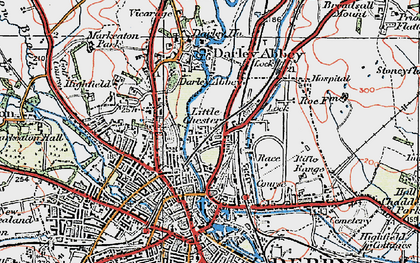 Old map of Little Chester in 1921