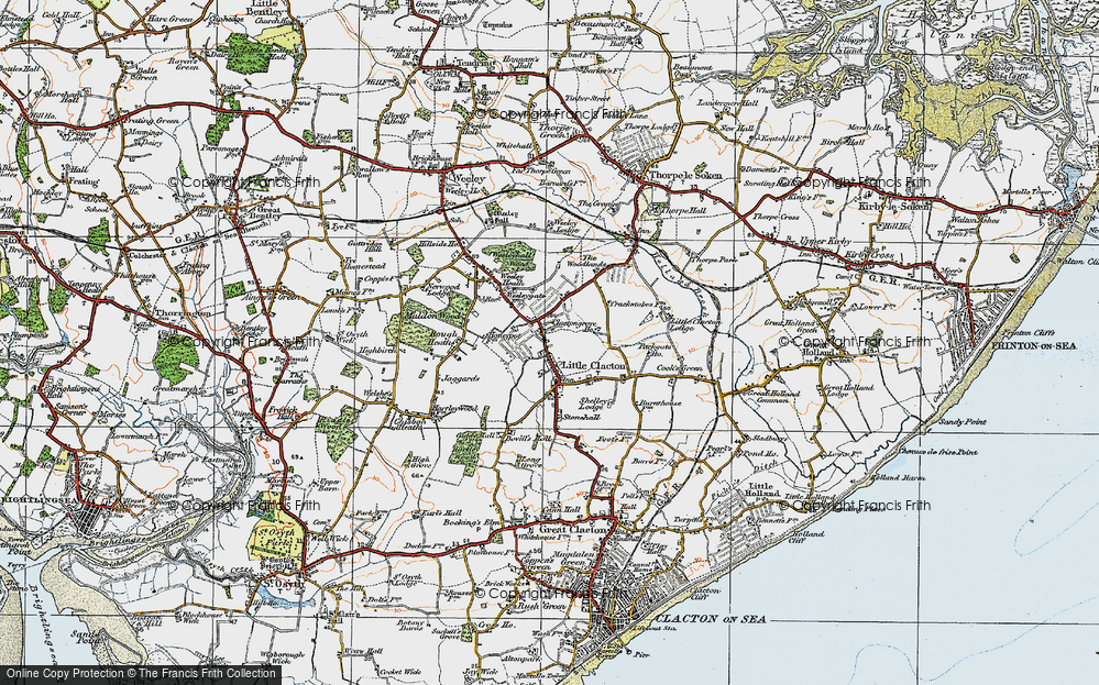 Old Map of Historic Map covering Woodlands in 1921