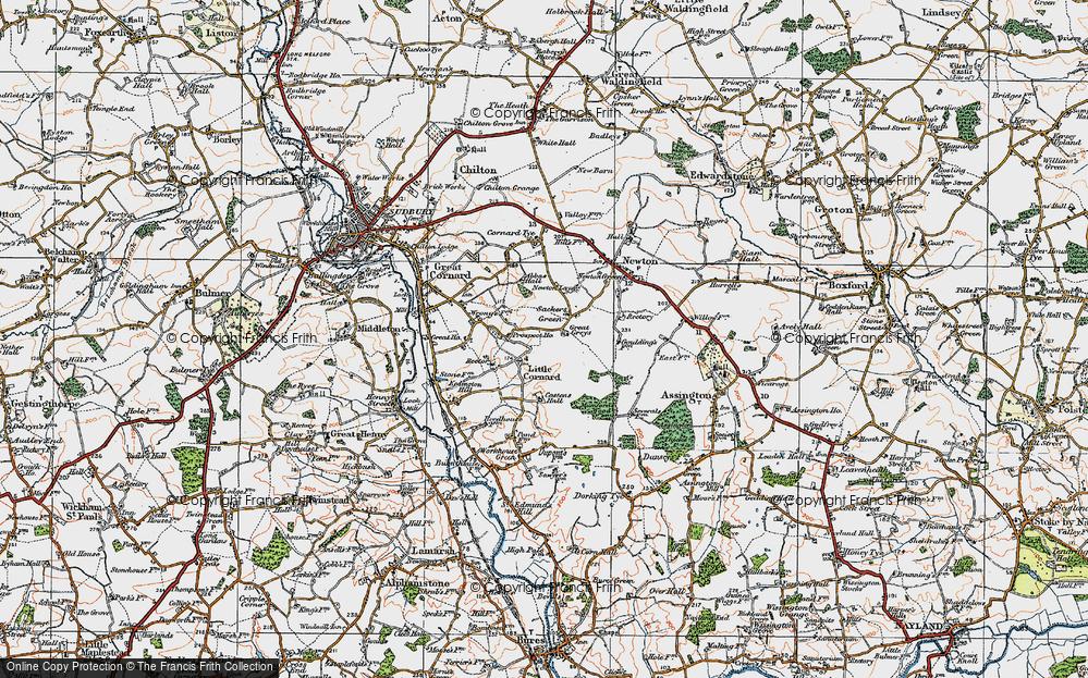 Old Map of Little Cornard, 1921 in 1921