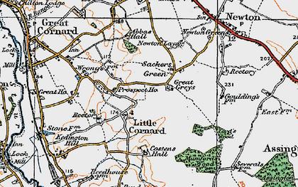 Old map of Little Cornard in 1921