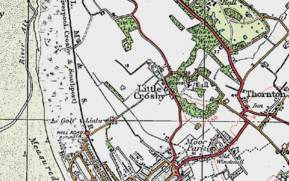Old map of Little Crosby in 1923