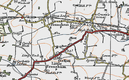 Old map of Ling's End in 1921