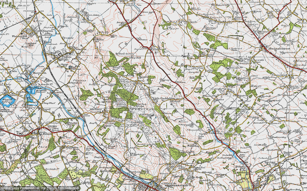 Old Map of Historic Map covering Ashridge (Coll) in 1920