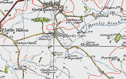 Old map of Little Haseley in 1919