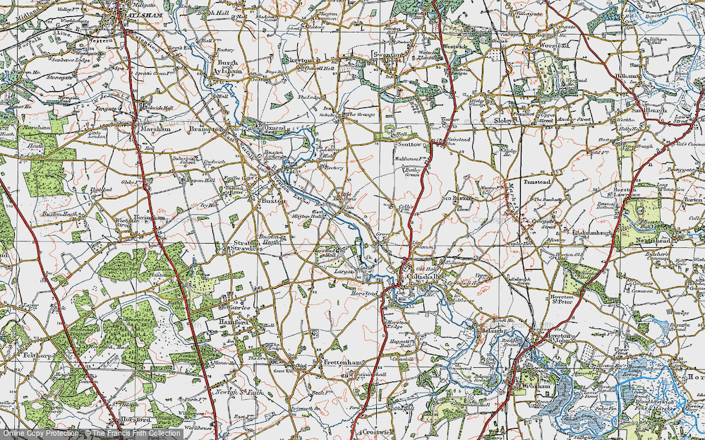 Old Map of Historic Map covering Largate in 1922