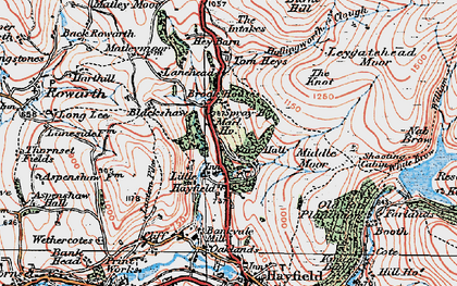 Old map of Little Hayfield in 1923