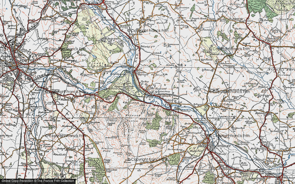 Old Map of Historic Map covering Abraham's Valley in 1921