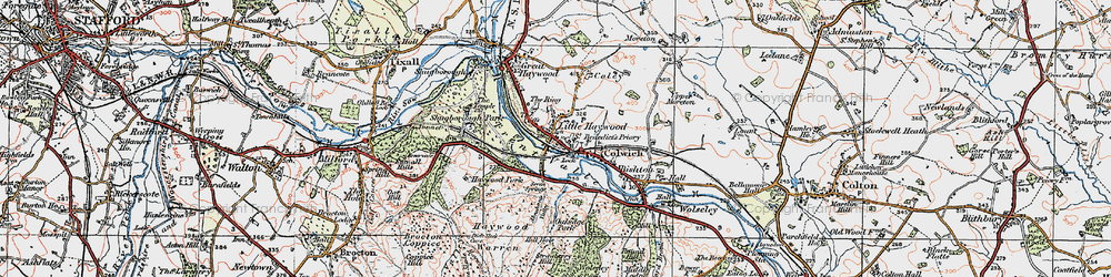 Old map of Little Haywood in 1921