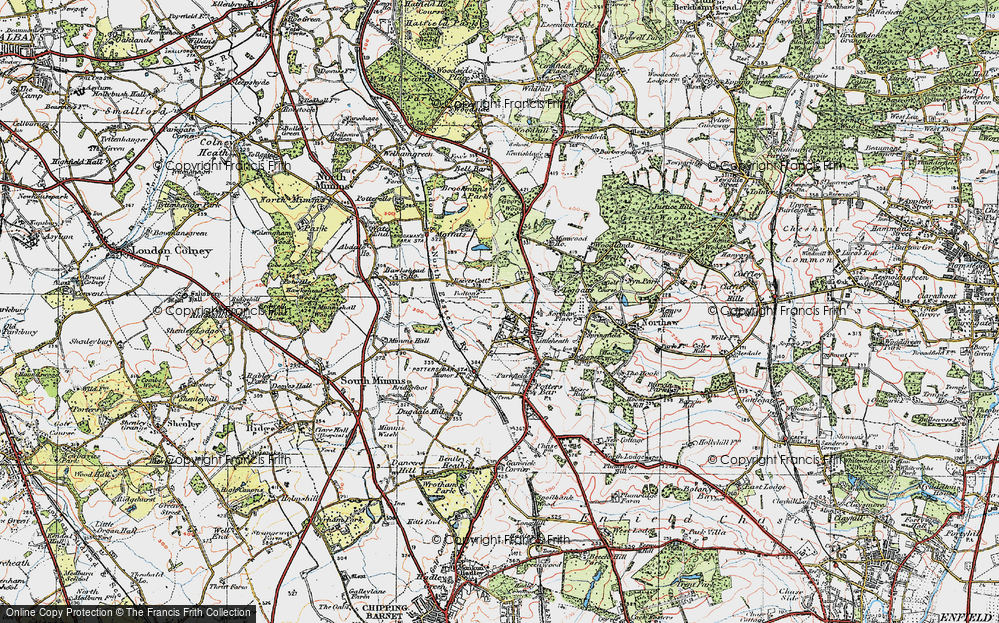 Old Map of Historic Map covering Leggatts Park in 1920