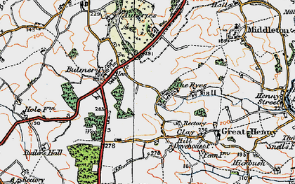 Old map of Auberies in 1921