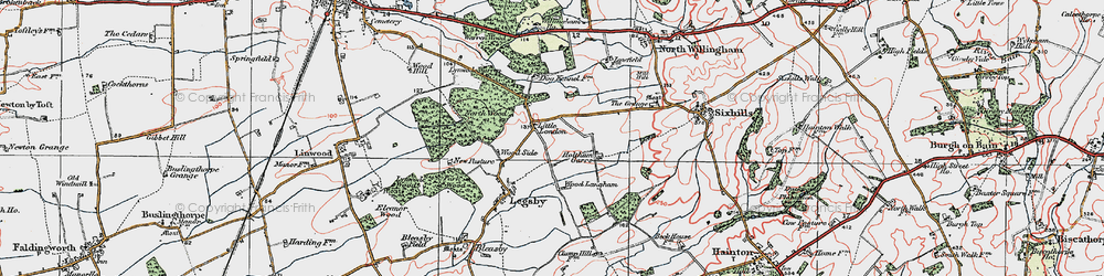 Old map of Willingham Woods in 1923