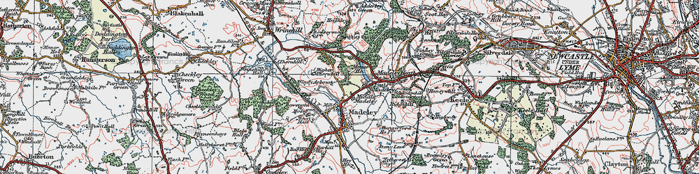 Old map of Windy Arbour in 1921