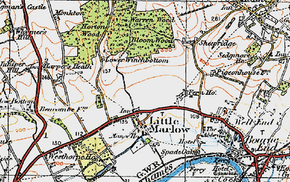 Old map of Little Marlow in 1919