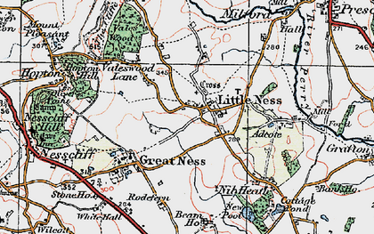 Old map of Adcote in 1921