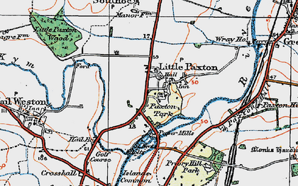 Old map of Little Paxton in 1919