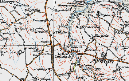 Old map of Little Petherick in 1919