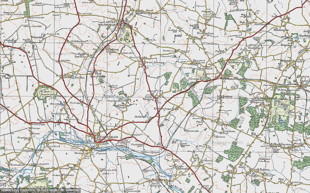 Old Map of Historic Map covering Alethorpe Hall in 1921