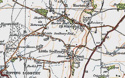 Old map of Little Sodbury in 1919