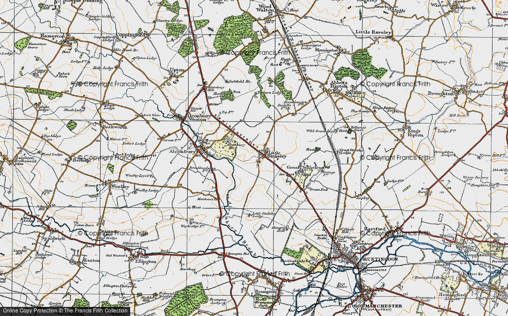 Old Map of Historic Map covering Alconbury Ho in 1920