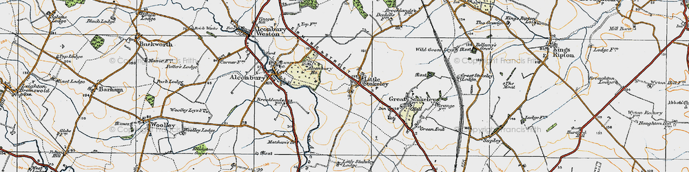 Old map of Alconbury Ho in 1920
