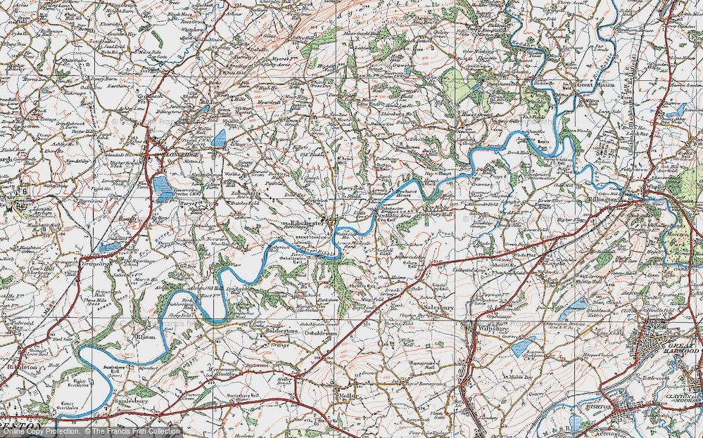 Old Map of Historic Map covering Bank Top in 1924