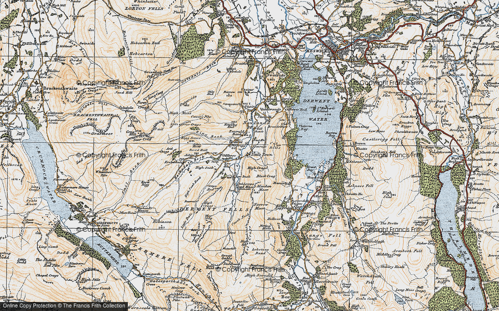Old Map of Historic Map covering Aikin Knott in 1925