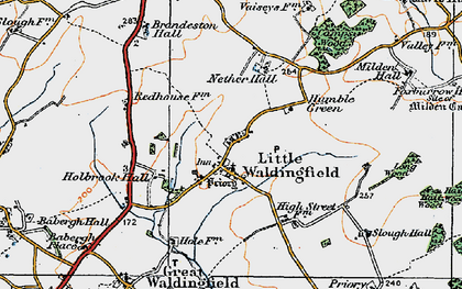 Old map of Little Waldingfield in 1921