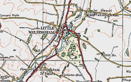 Old map of Little Walsingham in 1921