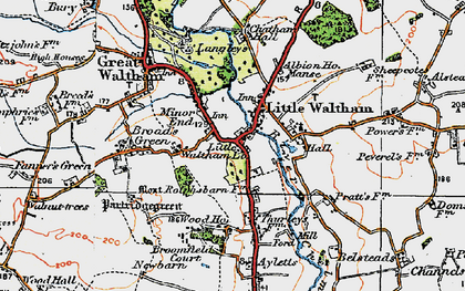 Old map of Little Waltham in 1919