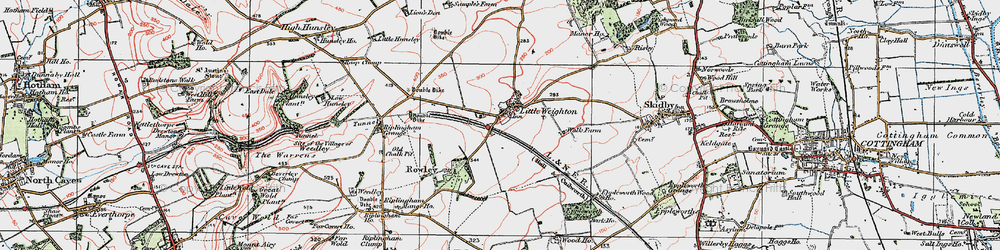 Old map of Little Weighton in 1924