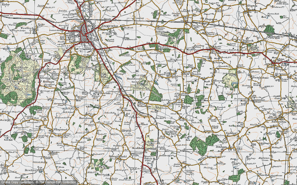 Old Map of Historic Map covering Link Wood in 1921