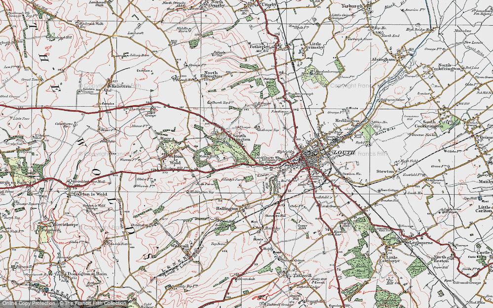 Old Map of Historic Map covering Acthorpe Top in 1923
