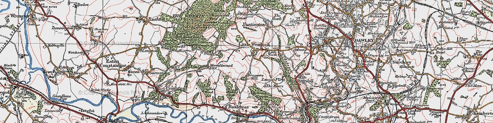 Old map of Little Wenlock in 1921