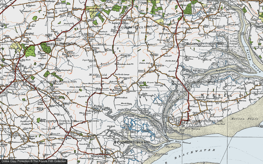 Old Map of Historic Map covering Abbot's Hall Saltings in 1921