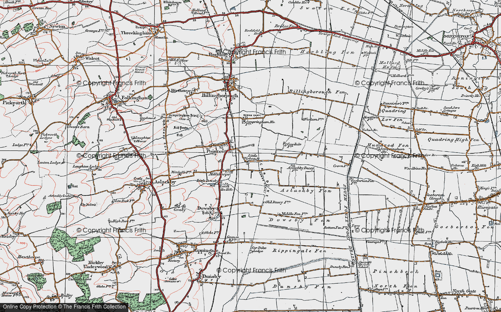 Old Map of Historic Map covering Aslackby Fen in 1922