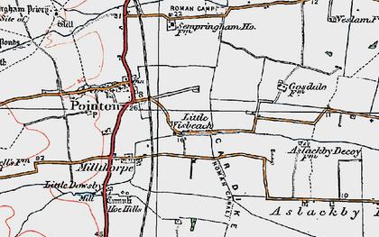 Old map of Aslackby Fen in 1922