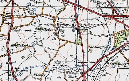 Old map of Wyrley Common in 1921
