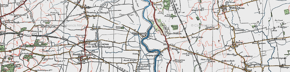Old map of Gate Burton in 1923