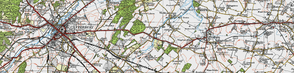 Old map of Littlebourne in 1920