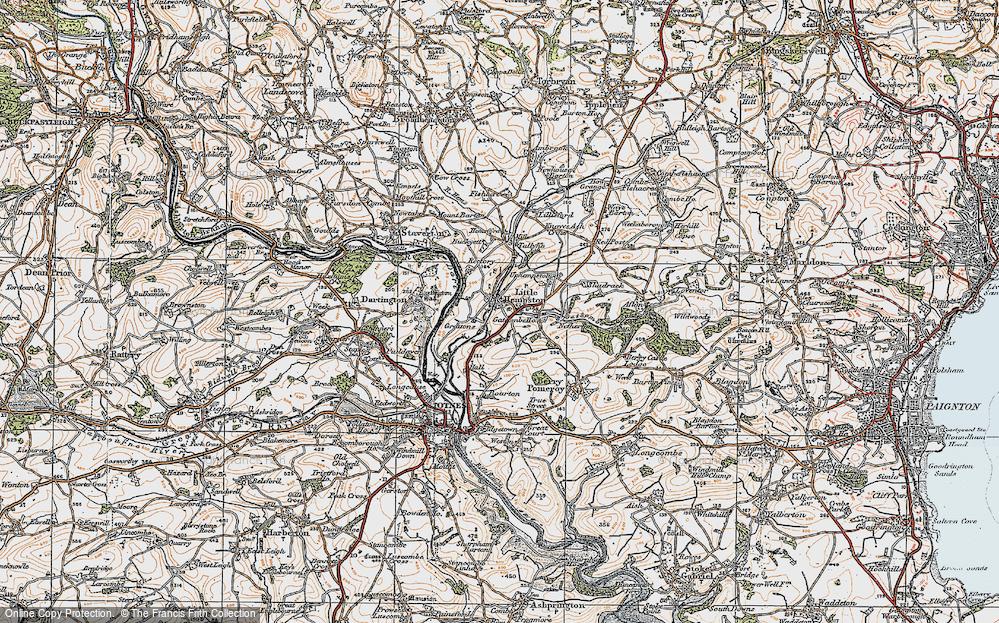 Old Map of Littlehempston, 1919 in 1919