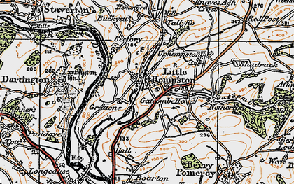 Old map of Littlehempston in 1919