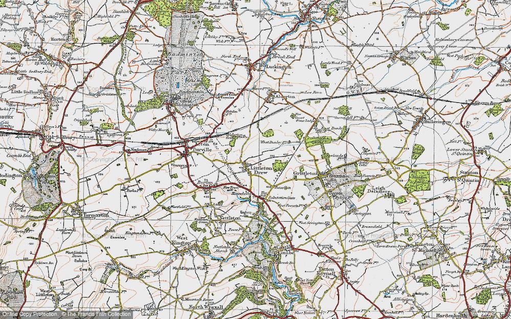 Old Map of Littleton Drew, 1919 in 1919