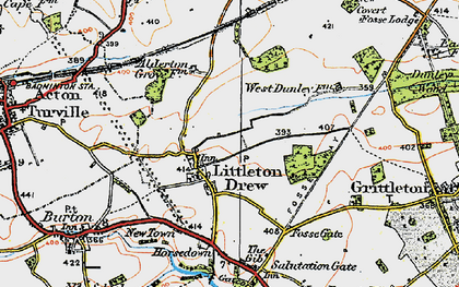 Old map of Littleton Drew in 1919