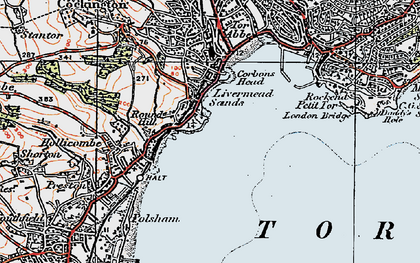 Old map of Torre Abbey in 1919