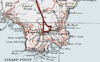 Old map of Lizard in 1919