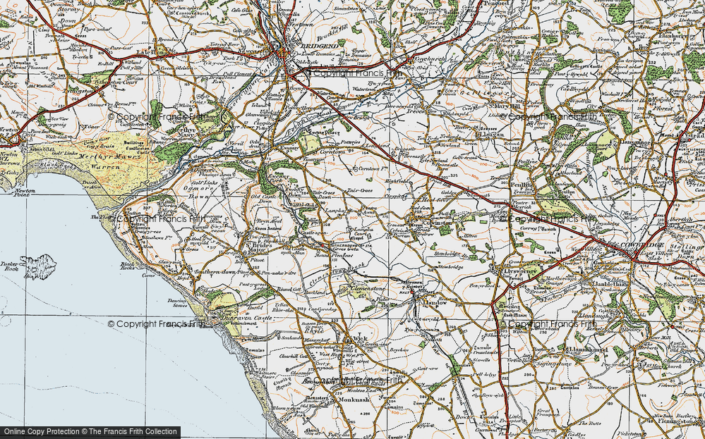 Old Map of Historic Map covering Afon Alun in 1922