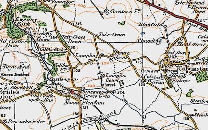 Old map of Afon Alun in 1922