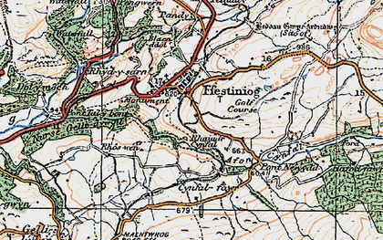 Old map of Llan Ffestiniog in 1922
