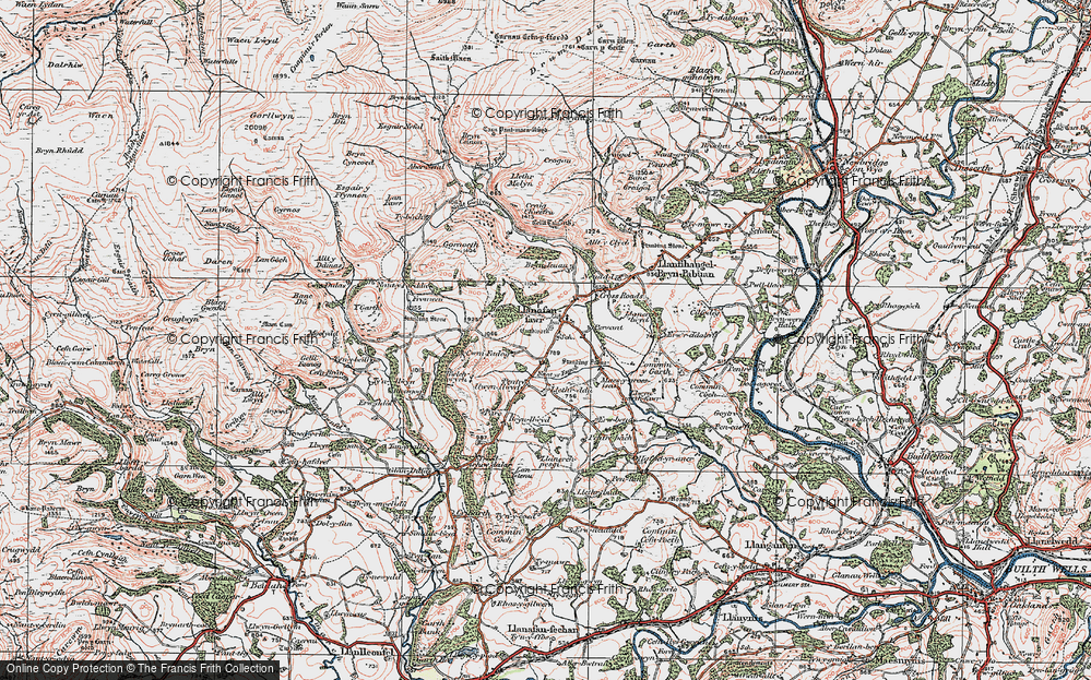 Old Map of Historic Map covering Allt y Clych in 1923